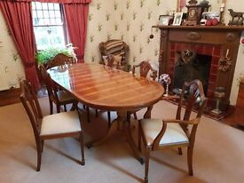 Quality Yew Wood Table and Chairs to enhance any dining area