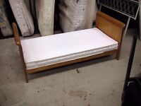 Small little toddler single wood bed frame and mattress 144 x 74 cm