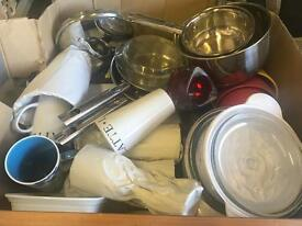 Large box full of kitchen items