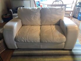 2 Seater Sofa, Cream Leather