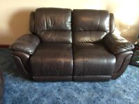 Brown leather 2 seater reclining sofa