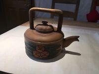 Large wooden carved kettle