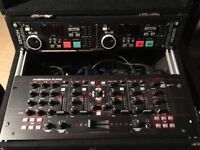 American Audio 4 Channel 19mxr Midi / Analog Mixer / Dj Controller with Denon Dual CD Player & Case