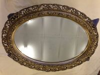 "Large 44"" x 32.5"" Late Victorian Oval Gilt Mirror. Genuine - Not Reproduction"