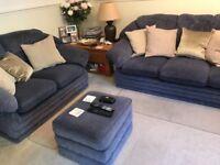3 & 2 Seater Sofas, plus footstool.