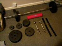 Barbell And Dumbbell Weights Set.