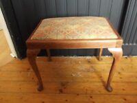teak finished piano/dressing table stool