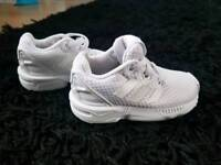 Boys Adidas ortholite trainers sz 4 white excellent condition