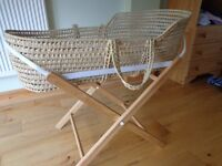 Moses Basket with stand, 2 matresses