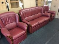 Italian Leather 3 piece Highback suite (FREE DELIVERY)