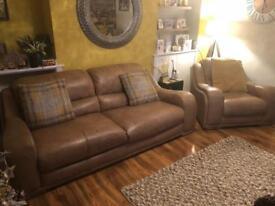 Designer Italian tan/brown leather sofa suite