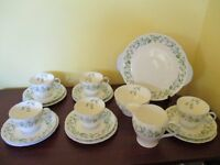 Shelley Tea Set - Harebell - 5 place settings + cake plate milk jug and sugar bowl.
