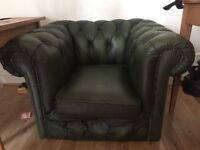 Beautiful Vintage Green Leather Club Armchair