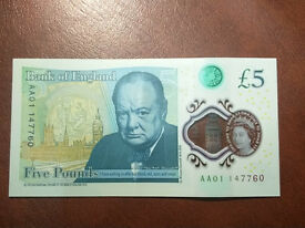 AA01 uncirculated £5 note