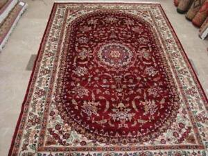Awesome Ruby Red Medallion Floral Oriental Area Rug Hand Knotted Wool Silk Carpet (10 x 7)'
