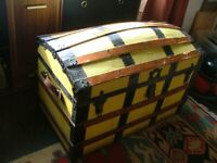 Old Trunk, Captain`s Cabin type, bow top. Made by Gamages, London for sale  Glastonbury, Somerset