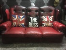 Chesterfield Wing Back 3 Seater Sofa Oxblood Red Leather - Uk Delivery