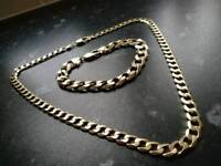 9ct gold curb chain and bracelet