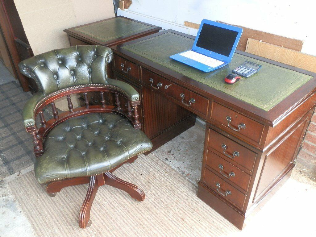 Chesterfield office chair - Antique Style Leather Desk Matching 2 Drawer Filling Cabinet Chesterfield Captain Chair