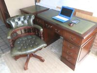 Antique Style Leather Desk matching 2 drawer filling cabinet & Chesterfield Captain Chair