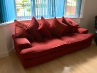 2x Large Sofa with footstool in Red by DFS