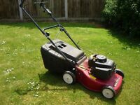 """Petrol self driven powerful 17"""" blade lawn mower for hire"""
