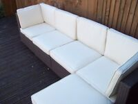 AS NEW RATTAN CORNER SET COST 900 CAN DELIVER FREEE