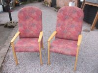 TWO LOVELY HIGH BACK EASY CHAIRS PINE FRAMES VERY CLEAN IDEAL CONSERVATORY ETC.