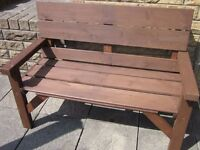 GARDEN BENCH A RUSTIC WOODEN 4 Foot Wide GARDEN BENCH. BRAND NEW and Hand Made.