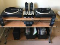Numark turntables & Behringer vmx100 mixer, speakers and stand