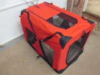 2 XXL portable, dog crates. Used once. Tough waterproof nylon and stronge frame construction.