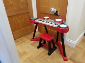 Early Learning Centre keyboard and drums with microphone
