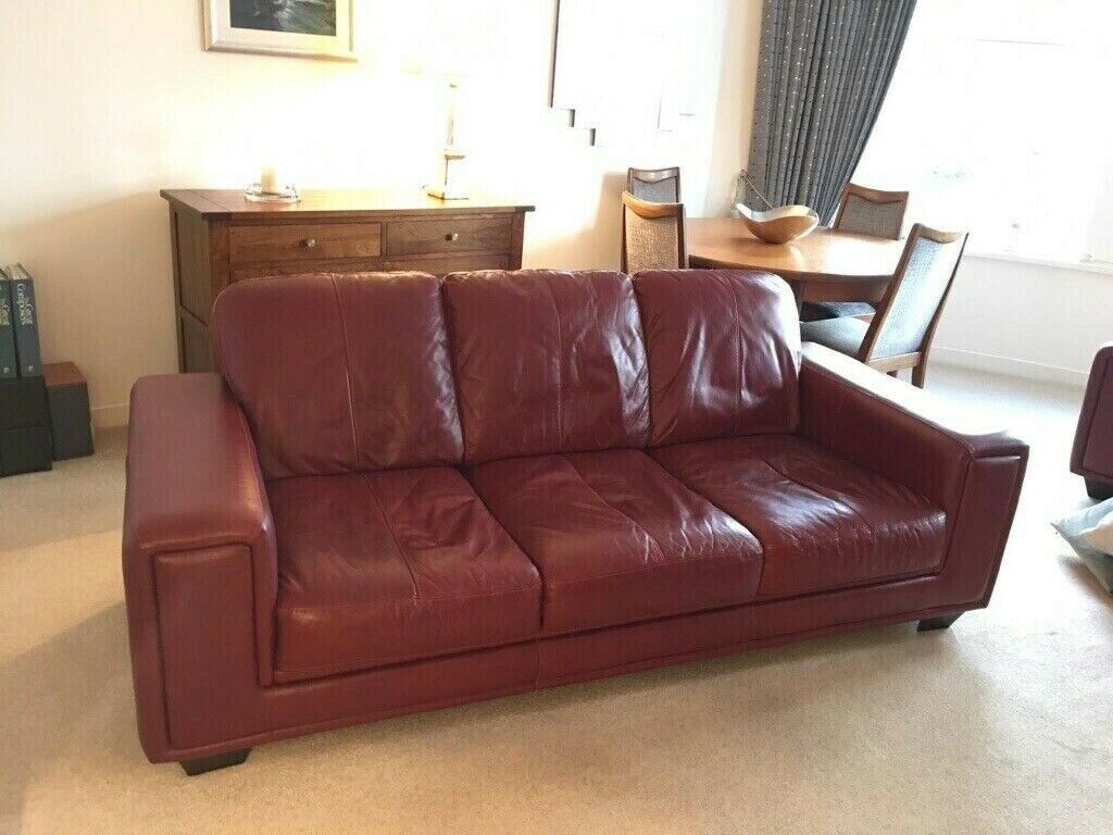 Burgundy Leather Sofa (3 Seats) - Excellent Condition | in Greenock,  Inverclyde | Gumtree