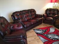 3-1-1 seater red/brown leather chesterfield suite