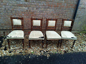 Victorian dining chairs - set of 4 - padded backed - upholstery project.