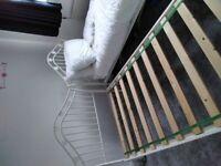 White metal girls bed