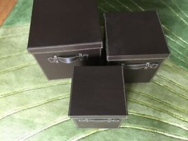 3 Faux Leather Storage Boxes with Lids and handles
