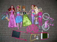 Bundle of 5 New Barbie and Disney Princesses dolls, incl. 2 Mermaids; Bike and Accessories (used).