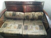 Antique Bergere leather & rattan 3 piece suite sofa/2 chairs