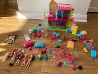 Polly pocket, house, dolls and lots of accessories