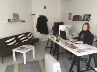 PART TIME DESK AVAILABLE in sunny and friendly Dalston studio - £110 per month