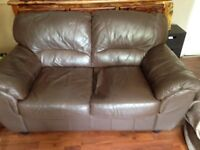2 seater and 3 seater brown leather sofa