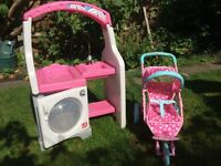 Dools World 3 Wheel Stroller and lovely washing machine with tap and changing area for dolls.