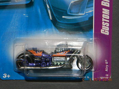 HW HOT WHEELS 2008 CUSTOM BIKES SERIES #2/4 AIRY 8 MOTORCYLE HOTWHEELS PURPLE