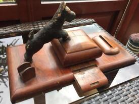 Unusual Cigarette Dispenser Wooden Dog Rare Desk Top