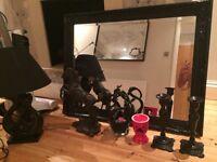 £40 Job lot Black Glass Ornament, BLack Candle holders, Horse Statue, Large Black Mirror, Black lamp