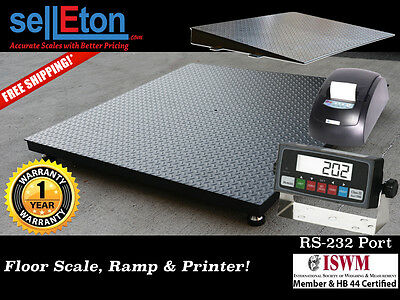 New 60 X 60 5 X 5 Heavy Duty Floor Scale With Ramp Printer 2500 X .5 Lb