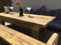 Rustic Reclaimed scaffolding table and benches