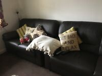***Brown Leather 2&3seater sofas**1yr old **must go by this weekend **