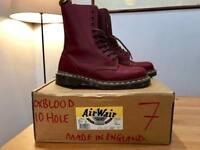 AS NEW: Dr. Martens 10-hole Oxblood Airware boots size 7 - Made in England